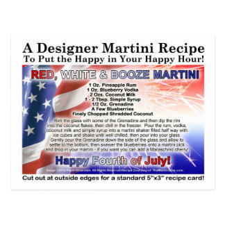 July 4th Red, White Booze Martini Recipe Postcard