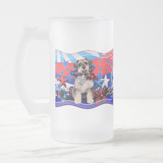 July 4th - Schnauzer X - Apache Frosted Glass Beer Mug