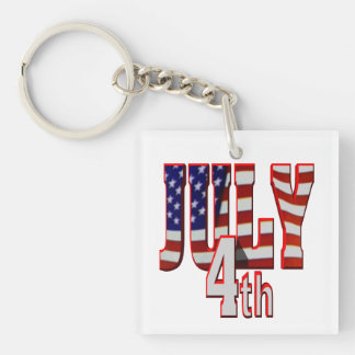 July 4th Single-Sided square acrylic keychain