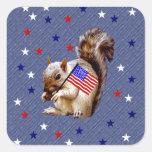 July 4th Squirrel Square Sticker