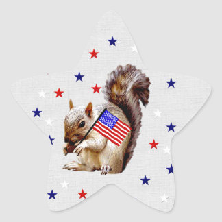 July 4th Squirrel Star Sticker