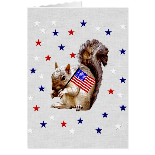 July 4th Squirrel Stationery Note Card