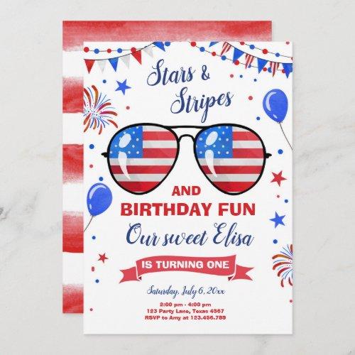 July 4th Stars and Stripes Firecracker Birthday Invitation