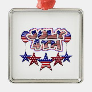 July 4th Stars Metal Ornament