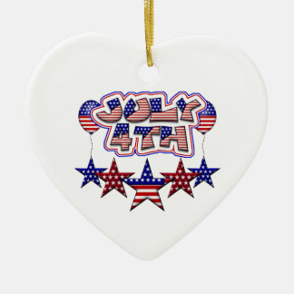 July 4th Stars Double-Sided Heart Ceramic Christmas Ornament