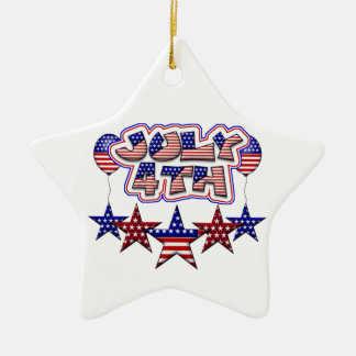 July 4th Stars Double-Sided Star Ceramic Christmas Ornament