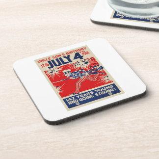 July 4th Uncle Sam's Birthday WWI Propaganda Drink Coaster