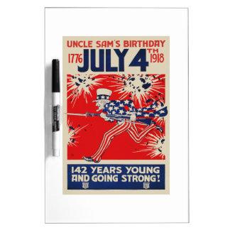 July 4th Uncle Sam's Birthday WWI Propaganda Dry-Erase Board