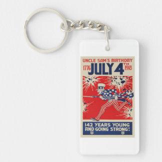 July 4th Uncle Sam's Birthday WWI Propaganda Keychain