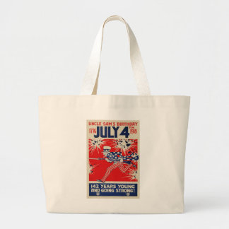 July 4th Uncle Sam's Birthday WWI Propaganda Large Tote Bag