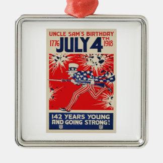 July 4th Uncle Sam's Birthday WWI Propaganda Metal Ornament