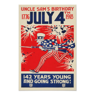 July 4th Uncle Sam's Birthday WWI Propaganda Photo Print