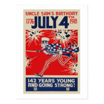 July 4th Uncle Sam's Birthday WWI Propaganda Postcard
