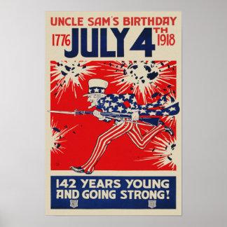 July 4th Uncle Sam's Birthday WWI Propaganda Poster