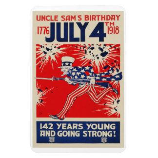 July 4th Uncle Sam's Birthday WWI Propaganda Rectangular Photo Magnet