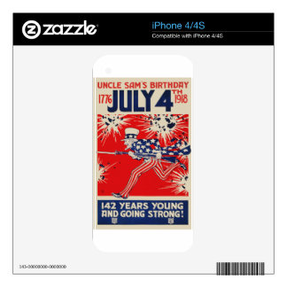 July 4th Uncle Sam's Birthday WWI Propaganda Skin For The iPhone 4S