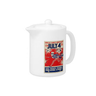 July 4th Uncle Sam's Birthday WWI Propaganda Teapot
