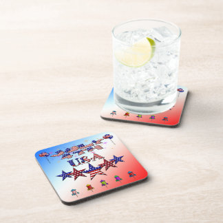 July 4th USA Drink Coaster Set (6)