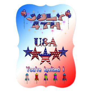 "July 4th USA Party Invitation 5"" X 7"" Invitation Card"