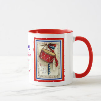 July 4th Vintage Marching Drum Red White & Blue Mug