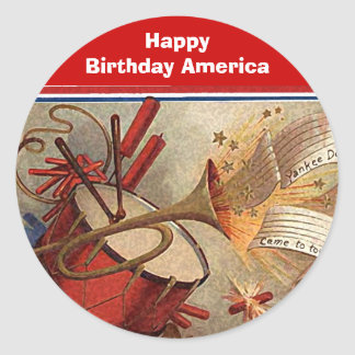 July 4th vintage yankee doodle classic round sticker