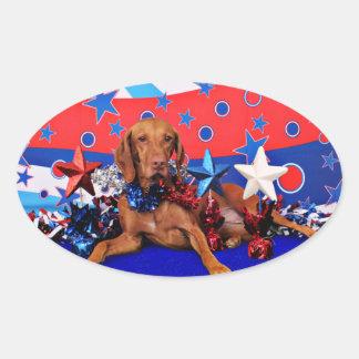 July 4th - Vizsla - Reagan Oval Sticker
