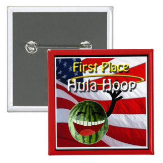 July 4th Watermelon Party 1st Place Hula Hoop 2 Inch Square Button