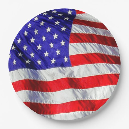 July 4th Waving Flag Paper Plates