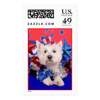 July 4th - Westie - Polo Postage Stamps