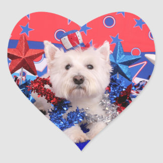 July 4th - Westie - Polo Heart Sticker