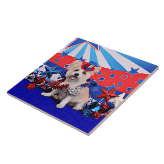 July 4th - Westie X - Lady Ceramic Tile