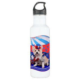 July 4th - Westie X - Lady 24oz Water Bottle