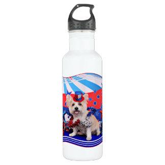 July 4th - Westie X - Lady Stainless Steel Water Bottle