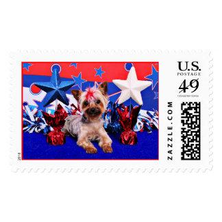 July 4th - Yorkie - Kinsey Postage Stamp