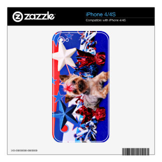 July 4th - Yorkie - Kinsey Decals For iPhone 4S