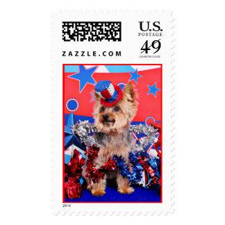 July 4th - Yorkie - Vinnie Postage Stamp