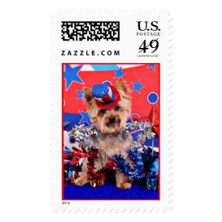 July 4th - Yorkie - Vinnie Postage Stamps