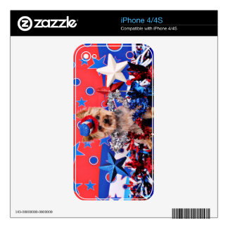 July 4th - Yorkie - Vinnie Skin For iPhone 4