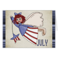 July Angel July 4th/Birthday Greeting Card