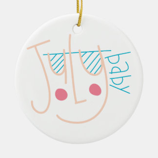 July Baby Double-Sided Ceramic Round Christmas Ornament
