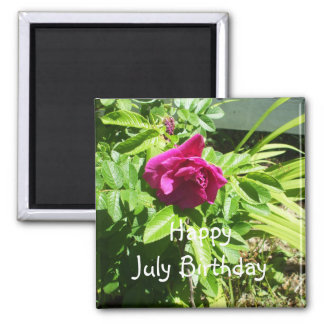 July Birthday Rose 2 Inch Square Magnet