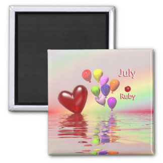 July Birthday Ruby Heart 2 Inch Square Magnet