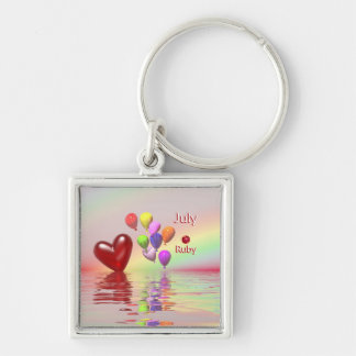 July Birthday Ruby Heart Keychain