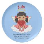 July Birthstone Angel Black Party Plates
