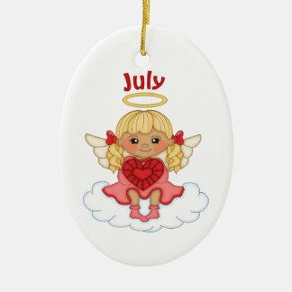 July Birthstone Angel Blonde Ceramic Ornament