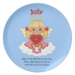July Birthstone Angel Blonde Party Plate