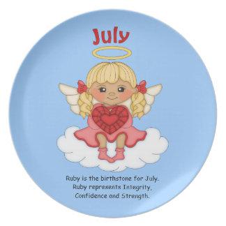 July Birthstone Angel Blonde Party Plates