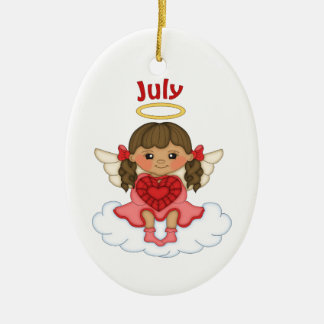 July Birthstone Angel Brunette Ceramic Ornament