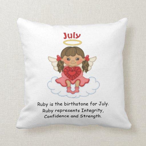 July Birthstone Angel Brunette Pillow