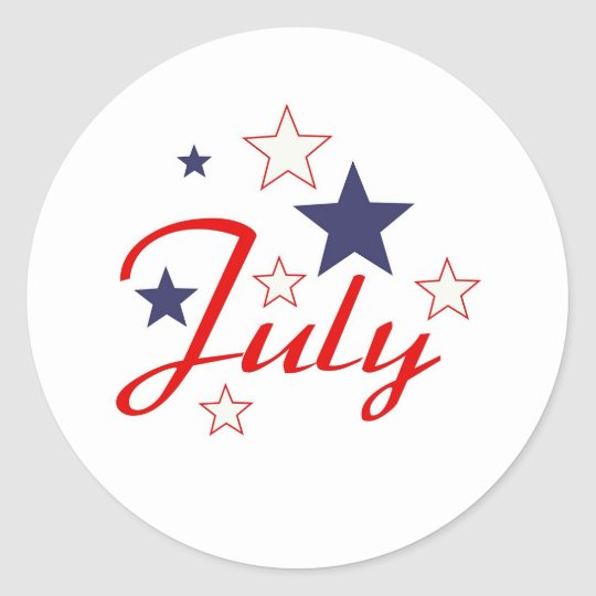 July Classic Round Sticker